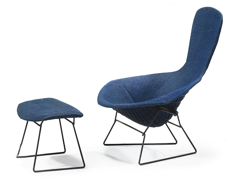 Harry Bertoia, Bertoia chair, Bertoia ottoman, Bertoia Bird chair, Knoll International, mid century furniture, mid century chair