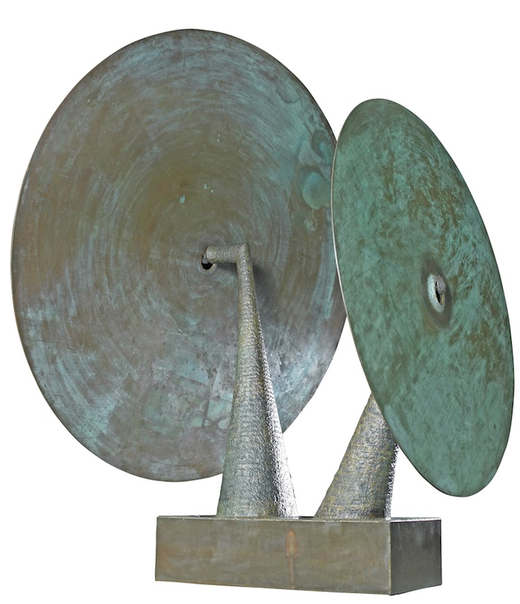 Harry Bertoia, David Rago, Bertoia double gong sculpture, Bertoia sculpture, mid century