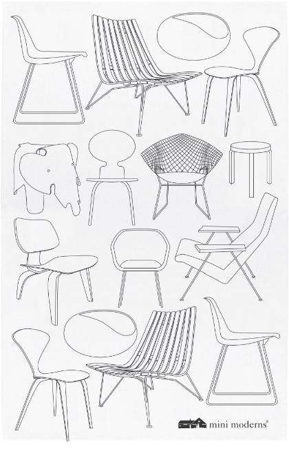 Mini Moderns, mid-century chair, Festival of Britain, 1950s design, mid-century pattern