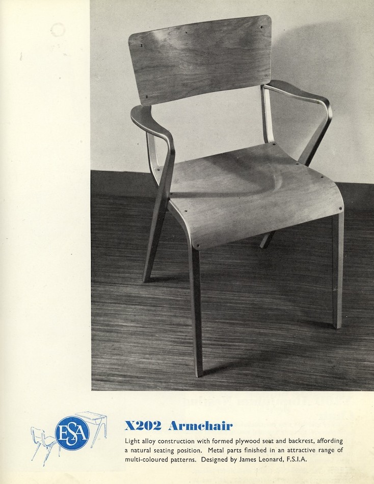 James Leonard chair, British furniture design, post war British design, school furniture, ESA, X202 chair, X201 chair, midcentury